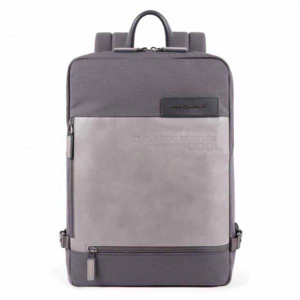 Zaino Piquadro grande porta PC e iPad in tessuto riciclato Ade grigio