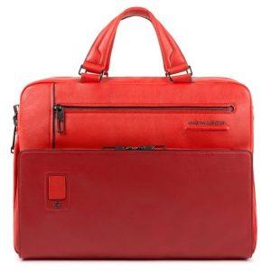 Cartella Piquadro personalizzabile due manici porta pc in pelle Akron rossa