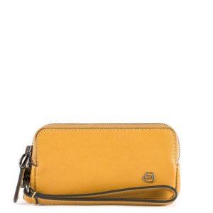Pochette Piquadro mini due scomparti in pelle Black Square giallo