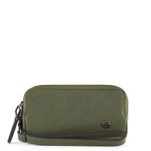 Pochette Piquadro mini due scomparti in pelle Black Square verde