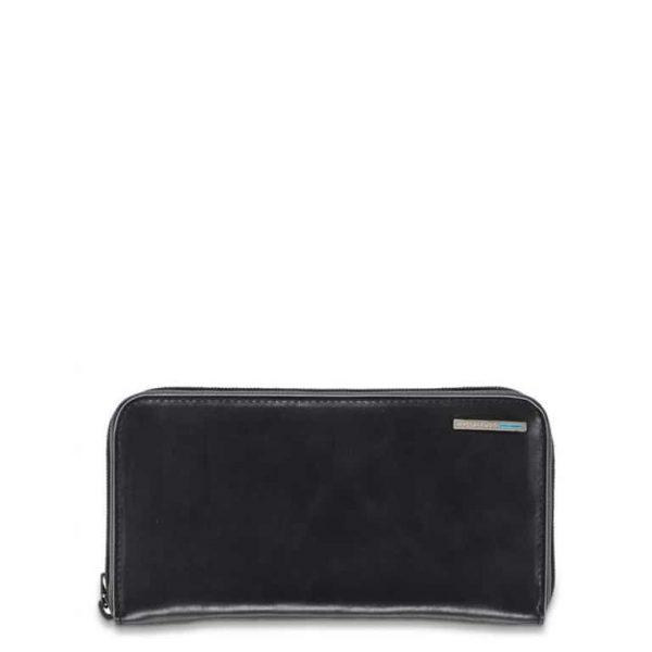 Portafoglio donna Piquadro 4 soffietti con zip in pelle Blu Square nero