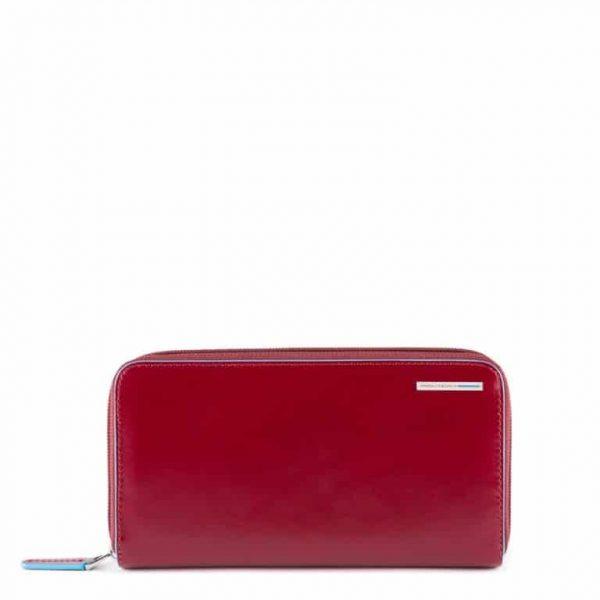 Portafoglio donna Piquadro 4 soffietti con zip in pelle Blu Square rosso