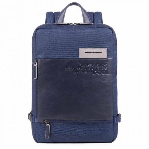 Zaino Piquadro grande porta PC e iPad in tessuto riciclato Ade blu