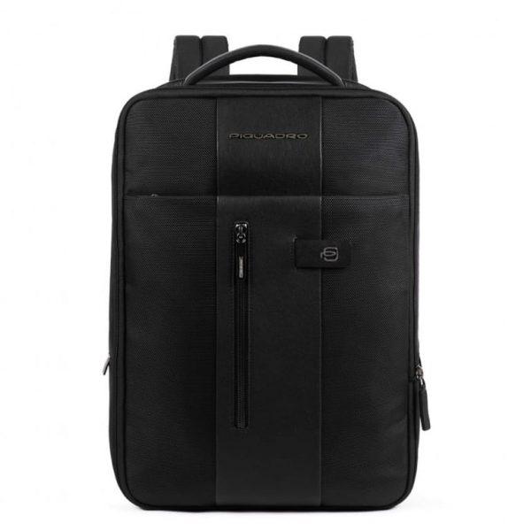 Zaino Piquadro sottile porta computer e iPad pelle e tessuto Brief nero