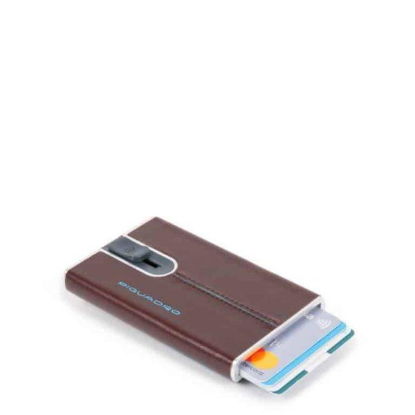 Compact wallet Piquadro per carte credito sliding system pelle Blue Square mogano