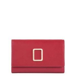 Portafoglio Piquadro donna grande con porta carte credito in pelle Freedom rosso