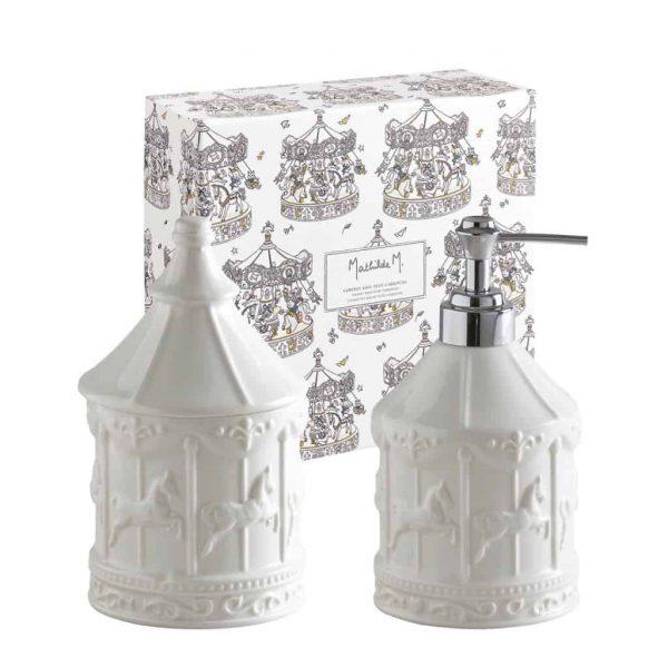 Dosatore di sapone Petit Carrousel e set da bagno in cotone Mathilde M