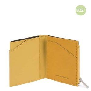 Portafoglio Piquadro uomo compatto in nylon rigenerato PQ-BIOS giallo