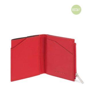Portafoglio Piquadro uomo compatto in nylon rigenerato PQ-BIOS rosso