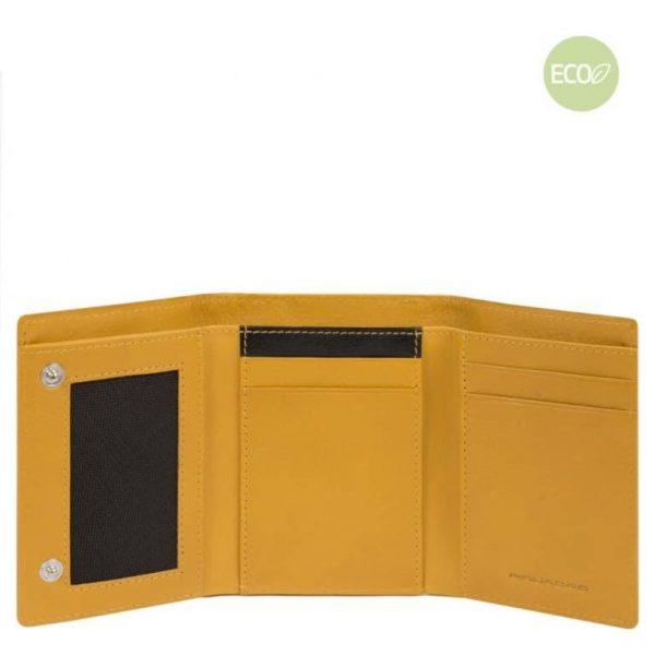 Portamonete Piquadro uomo pieghevole in nylon rigenerato PQ-BIOS giallo