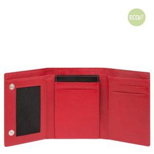 Portamonete Piquadro uomo pieghevole in nylon rigenerato PQ-BIOS rosso