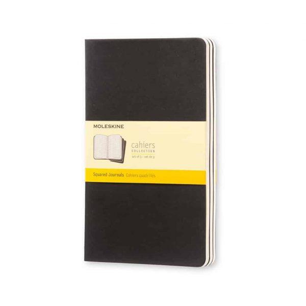 Set 3 Quaderni Moleskine Cahier Journal 13x21 Quadretti Nero