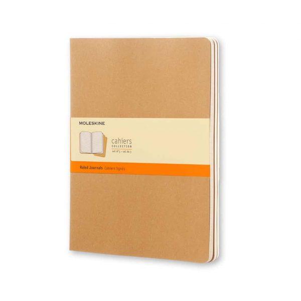 Set 3 Quaderni Moleskine Cahier Journal 19x25 Righe Kraft