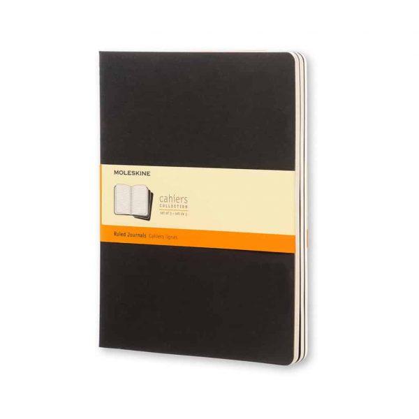 Set 3 Quaderni Moleskine Cahier Journal 19x25 Righe Nero