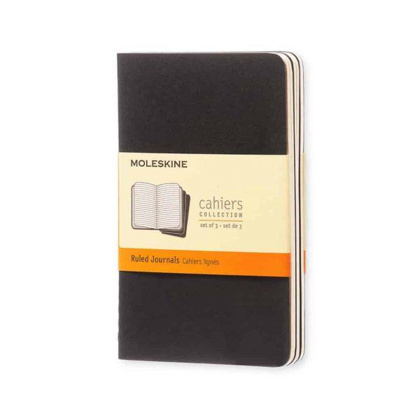Set 3 Quaderni Moleskine Cahier Journal 9x14 Righe Nero