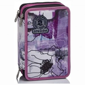 Astuccio Invicta 3 Zip Paint & Flowers Rosa
