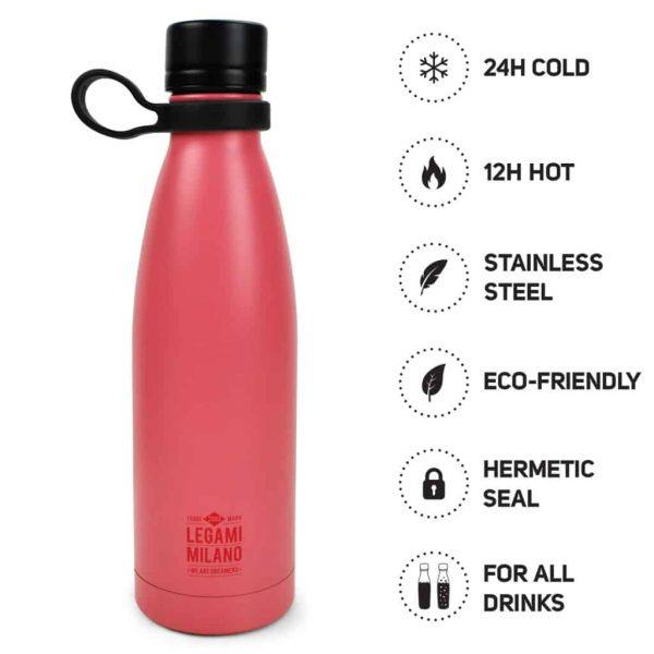 Borraccia Legami 500ML Inox 304 Hot & Cold Coral