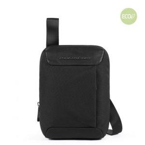 Borsello Piquadro piccolo porta iPad Mini in pelle e tessuto Macbeth nero