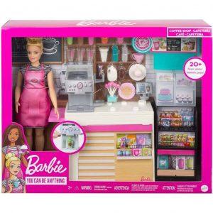 Barbie Playset La Caffetteria con Bambola Curvy Bionda