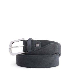 Cintura uomo Piquadro in pelle scamosciata grigio