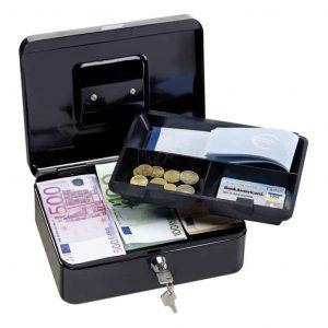 Lebez cassetta portavalori in metallo 25x18x9cm nera