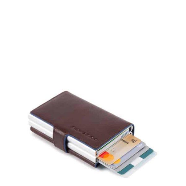 Porta carte credito Piquadro metallico doppio pelle Blue Square Special testa moro