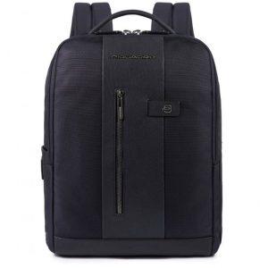 Zaino Piquadro porta PC/iPad con cavo antifurto pelle e tessuto Brief blu