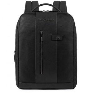 Zaino Piquadro porta PC/iPad con cavo antifurto pelle e tessuto Brief nero