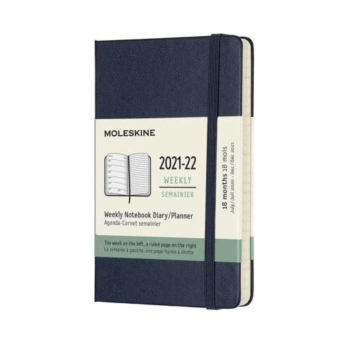 Moleskine Agenda Settimanale 18 Mesi 9x14 Pocket Rigid Blu