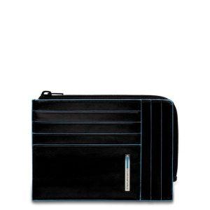 Bustina Piquadro portamonete-carte in pelle Blue Square Nero