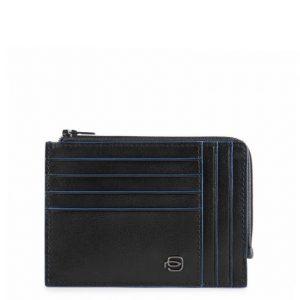 Bustina Piquadro portamonete-carte pelle Blue Square Special Nero
