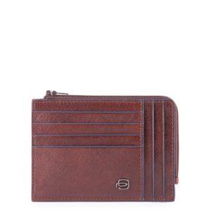 Bustina Piquadro portamonete-carte pelle Blue Square Special Testa di Moro