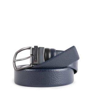 Cintura Piquadro uomo reversibile con fibbia ardiglione in pelle nero/blu