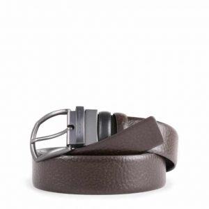 Cintura Piquadro uomo reversibile con fibbia ardiglione in pelle nero/marrone