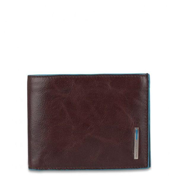Portafoglio Piquadro Uomo 12 porta carte credito in pelle Blue Square mogano