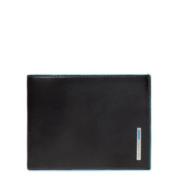 Portafoglio Piquadro Uomo 12 porta carte credito in pelle Blue Square nero