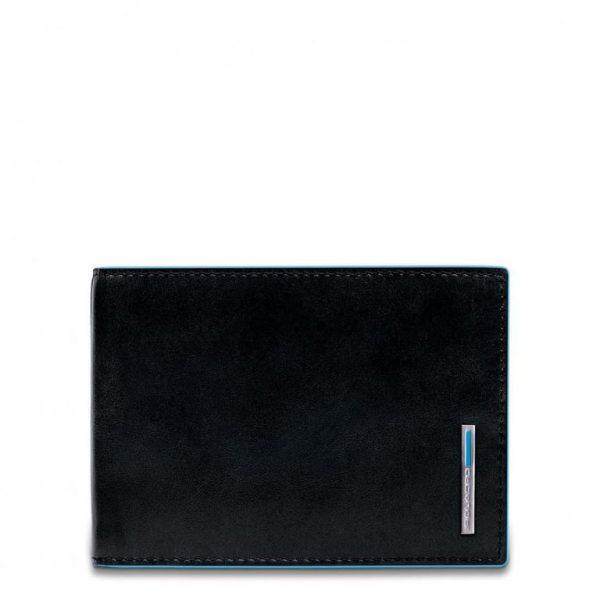 Portafoglio Piquadro uomo con portamonete in pelle Blue Square nero