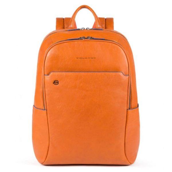 Zaino Piquadro Grande Porta PC e iPad in Pelle Blue Square Special Arancione