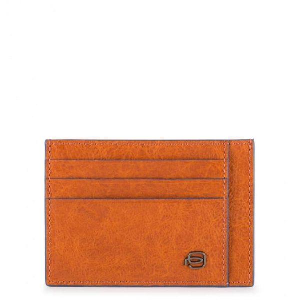 Bustina Piquadro uomo porta carte tascabile pelle Blue Square Special arancio
