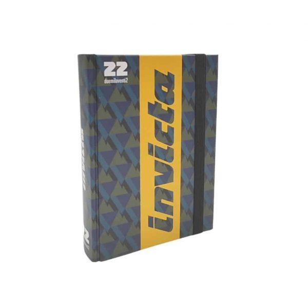Diario Invicta 2021/22 Datato 11.5x15.5cm Copertina Rigida Elastico Verde e Giallo