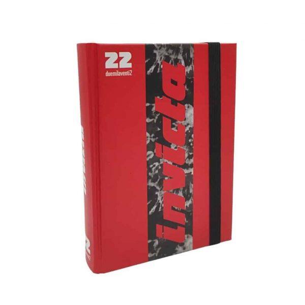 Diario Invicta 2021/22 Datato 13.5x18.5cm Copertina Rigida Elastico Rosso e Nero