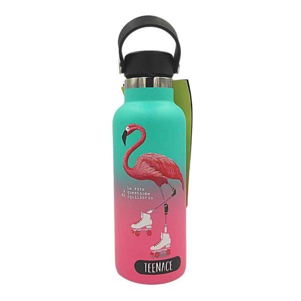 Borraccia Teenace 500ML Inox 304 Termica con Gancio Verde e Rosa
