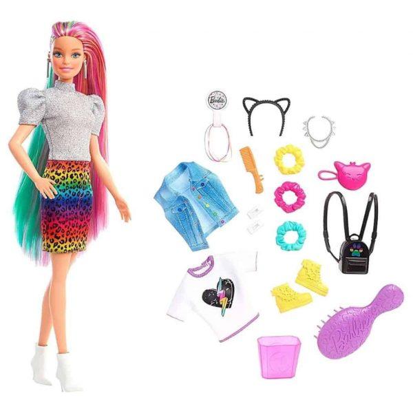 Barbie Bambola Leopard Rainbow Hair