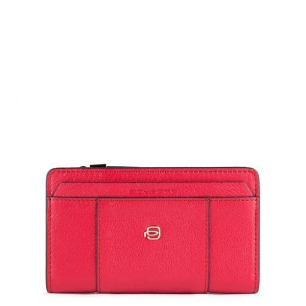 PIQUADRO Portafoglio Donna in Pelle con Porta Monete Rosso Intenso