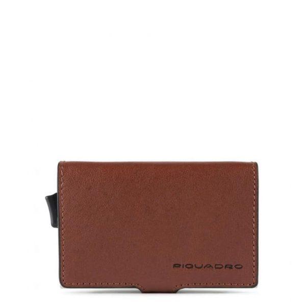 Piquadro Porta Carte di Credito in Metallo e Pelle Black Square Cuoio