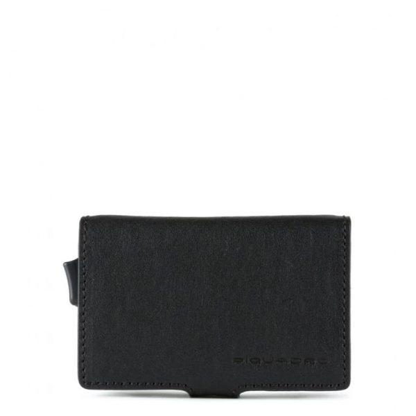 Piquadro Porta Carte di Credito in Metallo e Pelle Black Square Nero