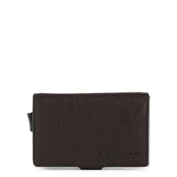 Piquadro Porta Carte di Credito in Metallo e Pelle Black Square Testa di Moro