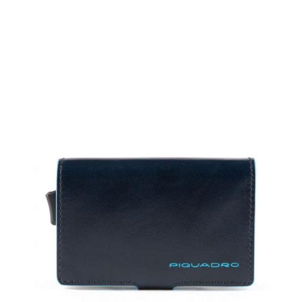Piquadro Porta Carte di Credito in Metallo e Pelle Blue Square Special Blu
