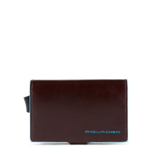 Piquadro Porta Carte di Credito in Metallo e Pelle Blue Square Special Mogano