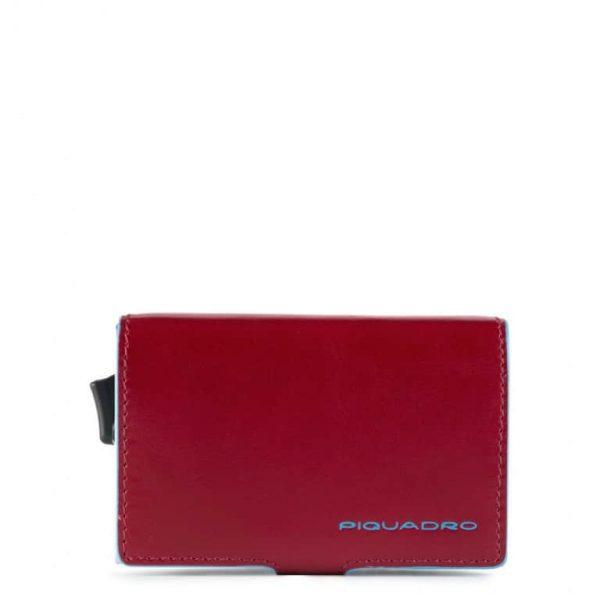 Piquadro Porta Carte di Credito in Metallo e Pelle Blue Square Special Rosso
